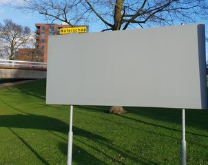 Empty billboard for election posters for the water authority or waterschap in Dutch elections on March 20th in the Netherlands