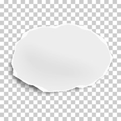 Torn paper scrap of oval shape isolated on transparent background. Vector illustration.