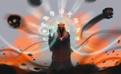 Digital illustration art design style a Sorcerer spelling dark magic against explosion land.