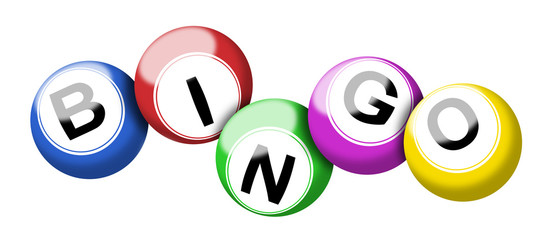 Colorful bingo balls illustration isolated on white with clipping path