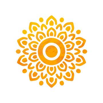 Beautiful Sun With Structure. Hand Drawn. Ornamental Mandala.