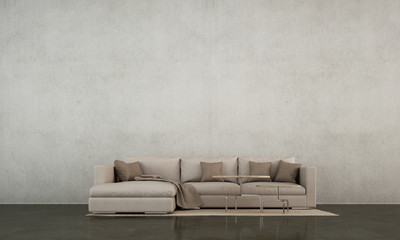 The modern loft living room and concrete wall texture background and brown leather sofa