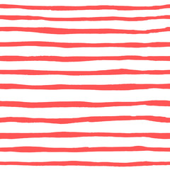 seamless pattern of horizontal watercolor coral strips