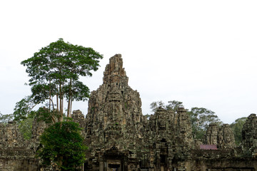 The Bayon Temple inside the Angkor Thom complex outside of Siem Reap in Cambodia