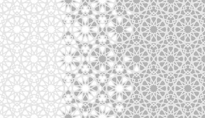 Tile repeating vector border. Geometric halftone pattern with color arabesque disintegration - Vector