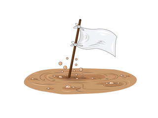 White flag drowning in the swamp.  Symbol of surrender and request for help. Cartoon illustration for your design.