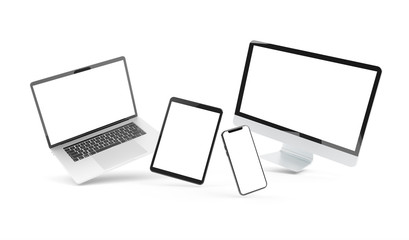 Devices floating on white background 3D rendering