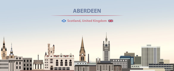 Fototapete - Vector illustration of Aberdeen city skyline on colorful gradient beautiful day sky background with flags of  Scotland and United Kingdom