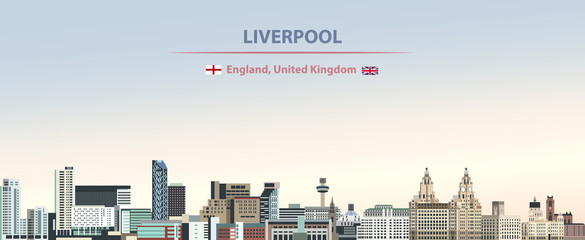 Fototapete - Vector illustration of Liverpool city skyline on colorful gradient beautiful day sky background with flags of  England and United Kingdom