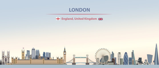 Wall Mural - Vector illustration of London city skyline on colorful gradient beautiful day sky background with flags of  England and United Kingdom