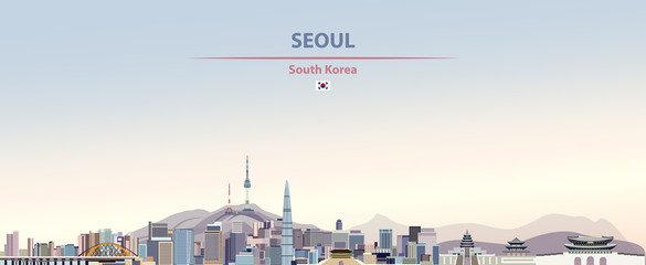 Wall Mural - Vector illustration of Seoul city skyline on colorful gradient beautiful day sky background with flag of
