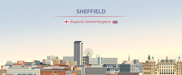 Wall Mural - Vector illustration of Sheffield city skyline on colorful gradient beautiful day sky background with flags of  England and United Kingdom
