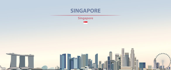 Wall Mural - Vector illustration of Singapore city skyline on colorful gradient beautiful day sky background with flag of  Singapore