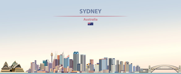 Wall Mural - Vector illustration of Sydney city skyline on colorful gradient beautiful day sky background with flag of  Australia