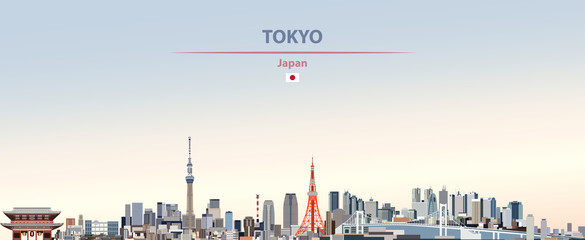 Fototapete - Vector illustration of Tokyo city skyline on colorful gradient beautiful day sky background with flag of  Japan