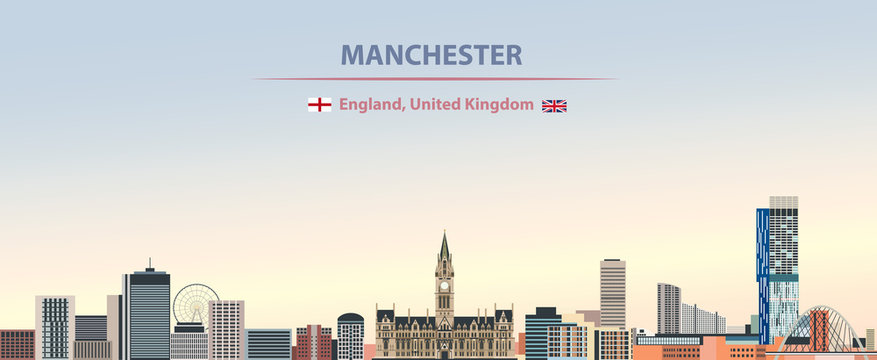 Vector illustration of Manchester city skyline on colorful gradient beautiful day sky background with flags of  England and United Kingdom
