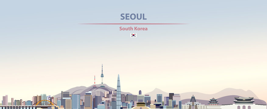 Vector illustration of Seoul city skyline on colorful gradient beautiful day sky background with flag of