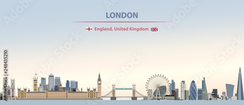 Fototapete Vector illustration of London city skyline on colorful gradient beautiful day sky background with flags of  England and United Kingdom