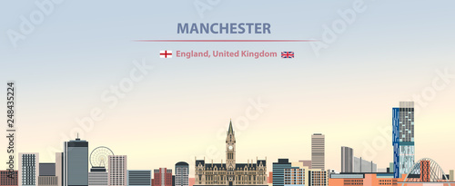 Fototapete Vector illustration of Manchester city skyline on colorful gradient beautiful day sky background with flags of  England and United Kingdom
