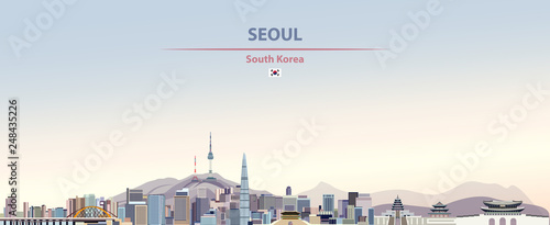 Fototapete Vector illustration of Seoul city skyline on colorful gradient beautiful day sky background with flag of
