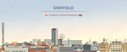 Fototapete Vector illustration of Sheffield city skyline on colorful gradient beautiful day sky background with flags of  England and United Kingdom