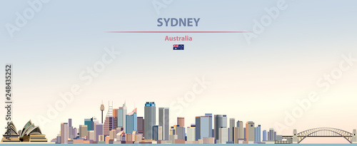 Wall mural Vector illustration of Sydney city skyline on colorful gradient beautiful day sky background with flag of  Australia