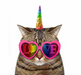 The funny cat unicorn wears red sunglasses with inscription love. Isolated.