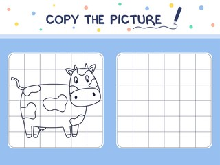 Cow. Copy the picture. Coloring book. Educational game for children. Cartoon vector illustration.