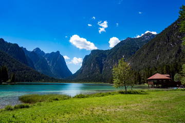 Lake Dobbiaco in the Dolomites, Italy