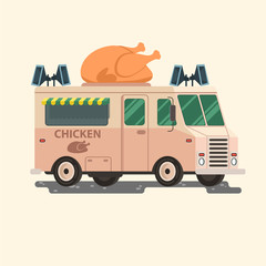 Street food van. Vector retro vintage food truck with chicken illustration. Delivery truck. EPS 10
