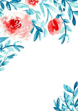 Watercolor floral invitation template.