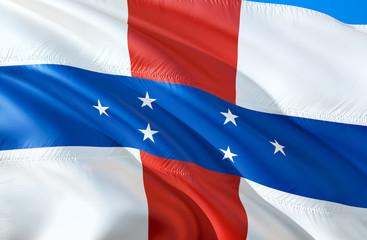 Netherlands Antilles flag. 3D Waving flag design. The national symbol of Netherlands Antilles, 3D rendering. The national symbol of Netherlands Antilles background wallpaper. Caribbean flag background