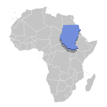Vector illustration of Sudan in blue on the grey model of Africa map