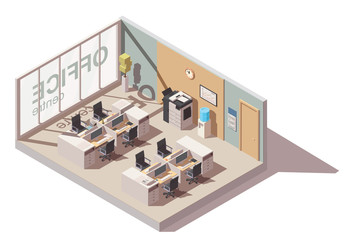 Оffice room with cubicle workplaces and office equipment. Vector isometric interior icon