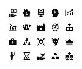 Simple Set of Investment Related Vector Glyph Icons. Contains such Icons as fund, home, money plant, increase and More. pixel perfect vector icons based on 32px grid. Well Organized and Layered