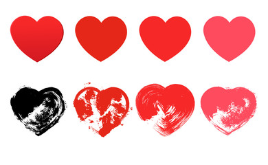 Hand drawn hearts. Design elements for Valentine s day.Vector
