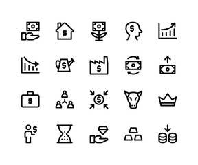 Simple Set of Investment Related Vector Line Icons. Contains such Icons asfund, home, money plant, increase and More. pixel perfect vector icons based on 32px grid. Editable Strokes