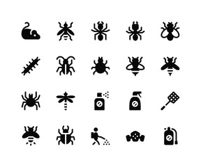 Simple Set of Pest Control Related Vector Glyph Icons. Contains such Icons asmouse, mosquito, ant, termite and More. pixel perfect vector icons based on 32px grid. Well Organized and Layered