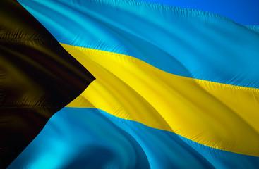 Bahamas flag. 3D Waving flag design. The national symbol of Bahamas, 3D rendering. Bahamas 3D Waving sign design. Waving sign background wallpaper. 3D pattern background download HD wallpaper