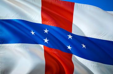 Netherlands Antilles flag. 3D Waving Caribbean flag design. The national symbol of Netherlands Antilles, 3D rendering. Netherlands Antilles 3D Waving sign design. Waving sign background wallpaper