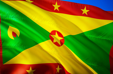 Grenada flag. 3D Waving flag design. The national symbol of Grenada, 3D rendering. Grenada 3D Waving sign design. Waving sign background wallpaper. 3D pattern background download HD wallpaper