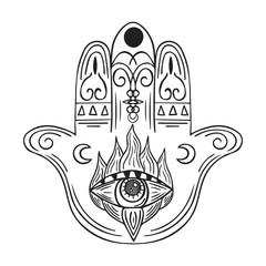 Hand drawn boho hamsa. Ethnic fatima hand in indian style. Mystical aztec print.