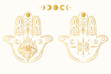 Hand drawn boho hamsa. Ethnic gold fatima hand in indian style. Mystical aztec golden print.