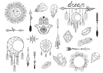 Hand drawn boho moon dream catcher, arrows, feathers, gems and stones, hamsa tribal pattern. Magic scandinavian border in indian style. Ethnic bohemian quill wreath.