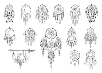 Super big hand drawn vintage bohemian dream catcher collection with heart and moon in boho style. Magic tribal indian tattoo. Traditional aztec print.
