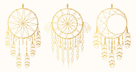 Hand drawn gold vintage dream catcher collection with feathers in boho style. Magic tribal indian golden tattoo. Traditional aztec print.