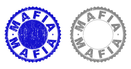 Grunge MAFIA stamps isolated on a white background. Rosette seals with distress texture in blue and grey colors. Vector rubber stamp imitation of MAFIA tag inside round rosette.