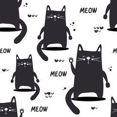 Happy cats, hand drawn backdrop. Black and white seamless pattern with animals. Decorative cute wallpaper, good for printing. Overlapping background vector. Design illustration