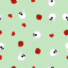 Seamless pattern human skull, red broken hearts, roses on mint, vector eps 10