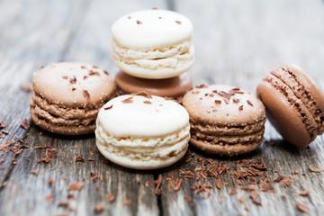 Photo sur Plexiglas Macarons macaron bonbon au chocolat amande